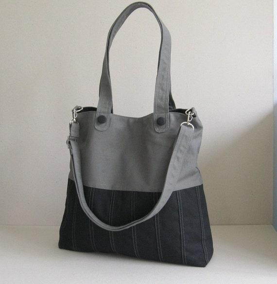 Sale - Black/Grey Canvas Bag, tote, purse, everyday bag, messenger bag, adjustable Strap
