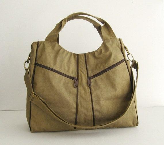 Sale - Water-Resistant Bag in Khaki, diaper bag, messenger, tote, women, stylish - LittleAllison