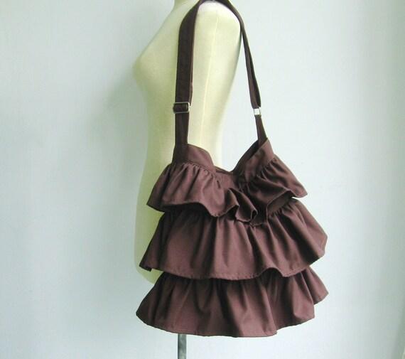 Sale - Chocolate Cotton Twill Ruffle Purse, messenger bag, shoulder bag, tote, diaper bag