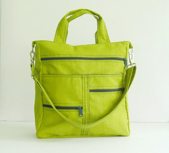 Sale - Apple Green Water-Resistant Nylon Bag - Shoulder bag, Diaper bag, Messenger bag, Tote, Travel bag, Women - MELISSA
