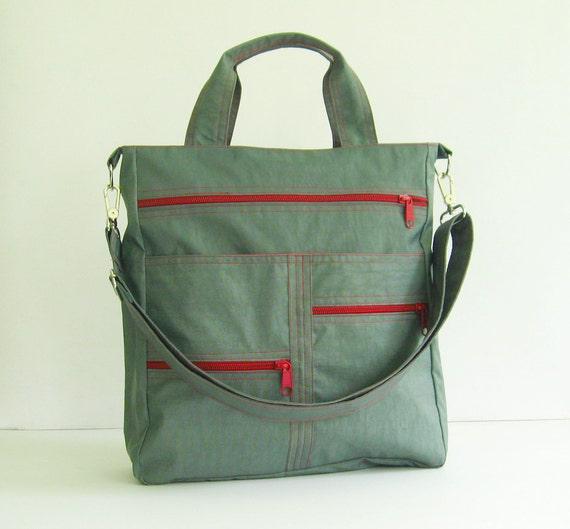 Sale - Grey Water-Resistant Nylon Bag, tote, handbag, shoulder bag, messenger, school bag - Melissa