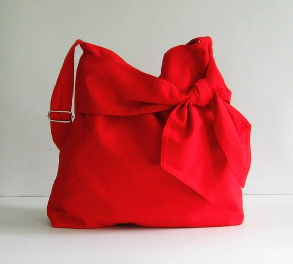 Sale - Red Cotton Twill Bag, diaper bag, messenger, tote, bow, adjustable strap - Ninny