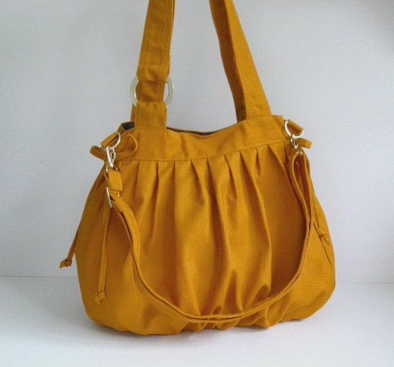 Sale - Mustard Canvas Pumpkin Bag, shoulder bag, tote, purse, cross body bag, stylish, unique
