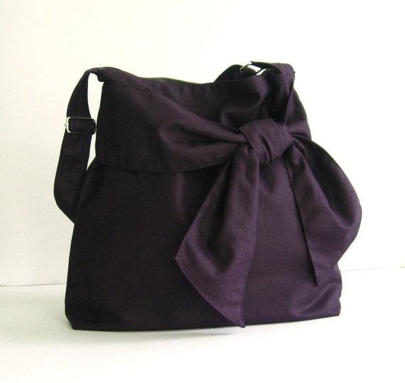 Sale Deep Purple Crossbody Canvas Bag tote handbag