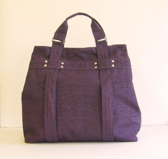 Sale - Deep Plum Water-Resistant Tote - Shoulder bag, Diaper bag, Messenger bag, Tote, Travel bag, Women - EMILY