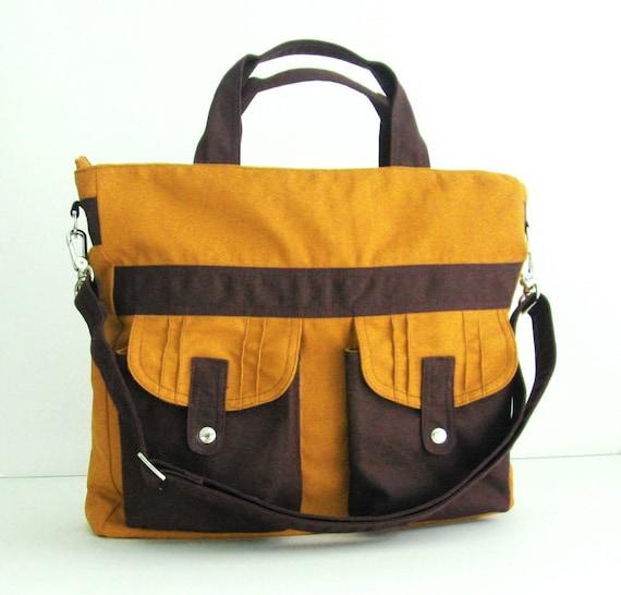 Sale - Mustard Canvas All purpose Bag - Shoulder bag, Tote, Diaper bag, Messenger, School bag - SUNNY