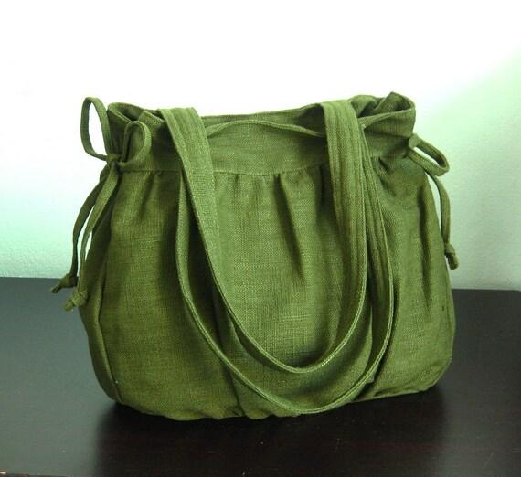Sale - Forest Green Hemp/Cotton Bag, purse, tote, everyday bag, work bag, shoulder bag,  teens,women - MANDY