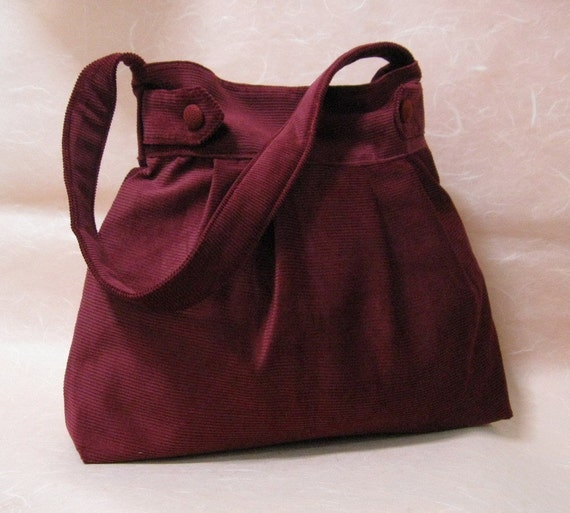 Maroon Corduroy Velvet Bag - Buttons and Arrows