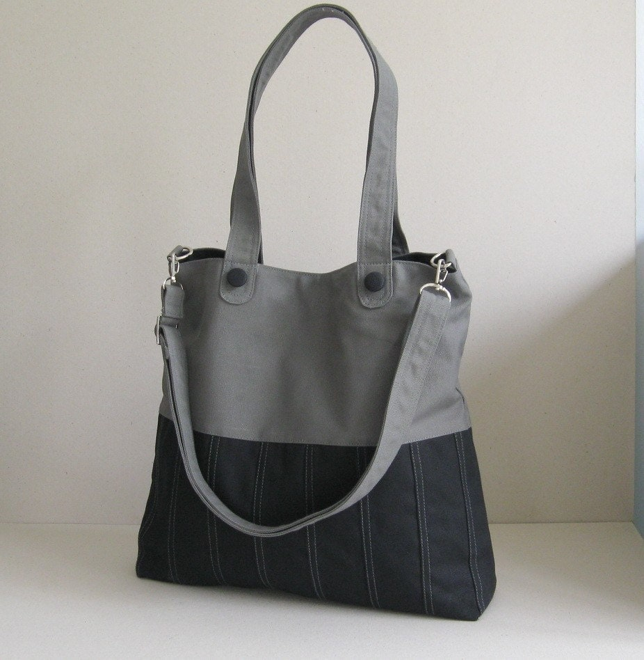 Sale Black Grey Canvas Bag Tote Purse Everyday Bag By