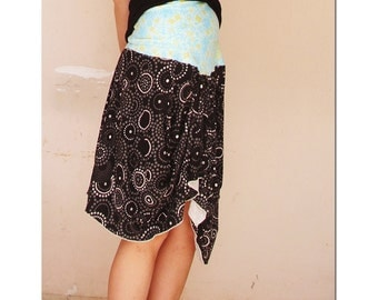 It Girl - THE SKIRT to Asymmetrical  One Sleeve Tunic - Black and Turquoise  - made by kathrin kneidl for resplendent rags