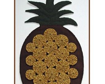 PDF pattern for a 11 x 19 inch wool and cotton yo-yo pineapple
