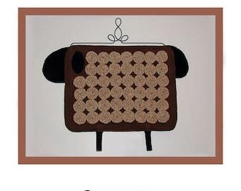 PDF pattern for a 14x 20 inch wool and cotton yo-yo prim sheep