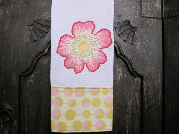Embroidered Hand Towel with Amy Butler Fabric...Ready to Ship