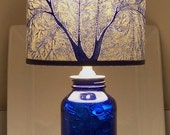 RESERVED FOR ANGELINA Serenity in Cobalt Fan Coral Lamp & Lamp Shade Ensemble