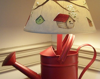 """Birdhouses """"Home Tweet Home""""  Hand Painted Lamp Shade on Watering Can Lamp in Americana Red"""