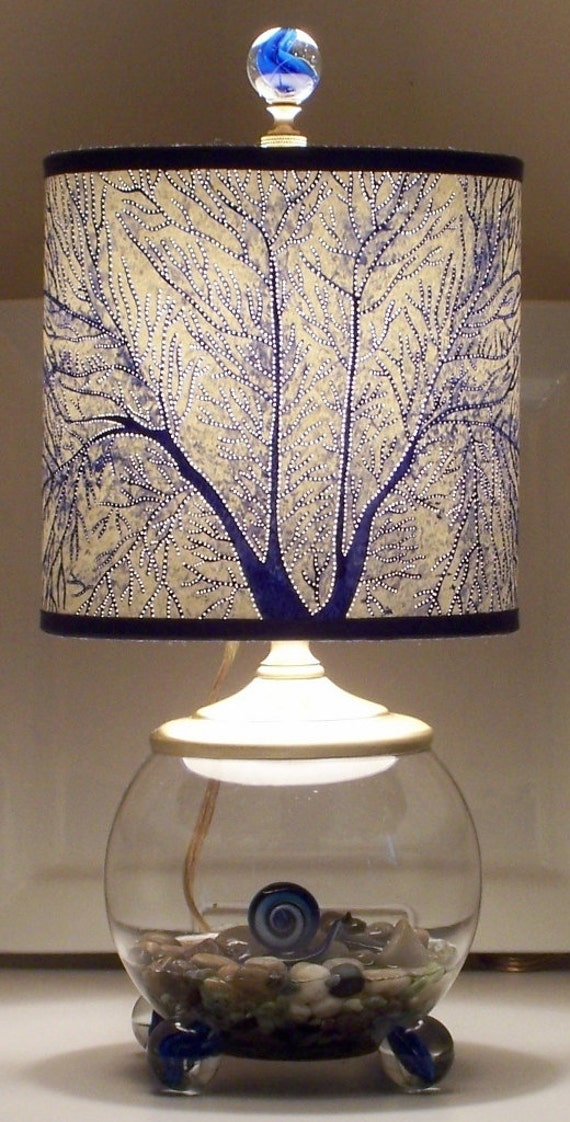 Cobalt Fan Coral Shade on Whimsical Snail Lamp Perfect Night Light for Nursery...or Most Anywhere
