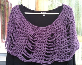 Crochet Dropped Stitch Poncho Shawl Shawlette Pattern