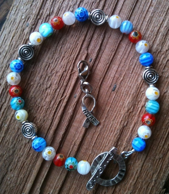 Weight Loss Bracelet Calorie or Points Counter Colorful Flower Beads HOPE Red White and Blue