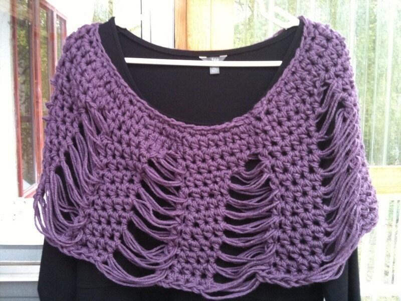Knit Drop Stitch Shawl Pattern : Crochet Dropped Stitch Poncho Shawl Shawlette Pattern