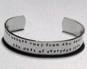 Picasso Quote Art washes away from the soul the dust of everyday life Hand Stamped Cuff Bracelet, Picasso Inspirational Quote Cuff Bracelet