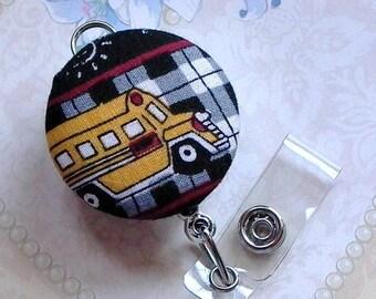 School Bus Fabric Button Retractable ID Badge Holder Keychain - School Bus Driver ID Badge Reel - School Bus Driver Gift