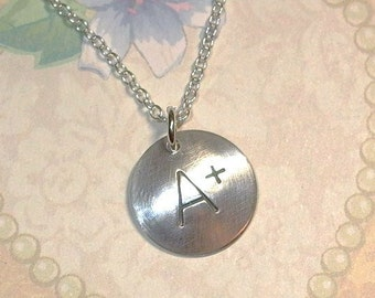 A Plus Favorite Teacher Hand Stamped Sterling Silver Charm Necklace -  A+ Necklace - Teacher Jewelry - Teacher Gift