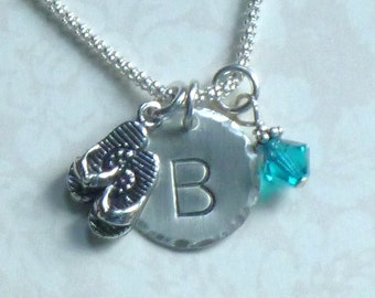 Flip Flop Necklace, Flip Flop Jewelry, Personalized Flip Flop Necklace, Flip Flop Hand Stamped Sterling Silver Initial Charm Necklace,
