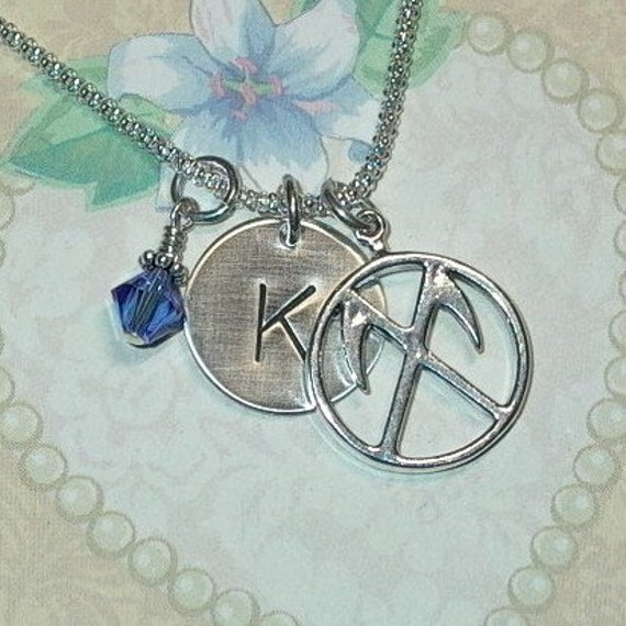 Color Guard Necklace, Personalized Color Guard Hand Stamped Sterling Silver Initial Charm Necklace, Color Guard Jewelry