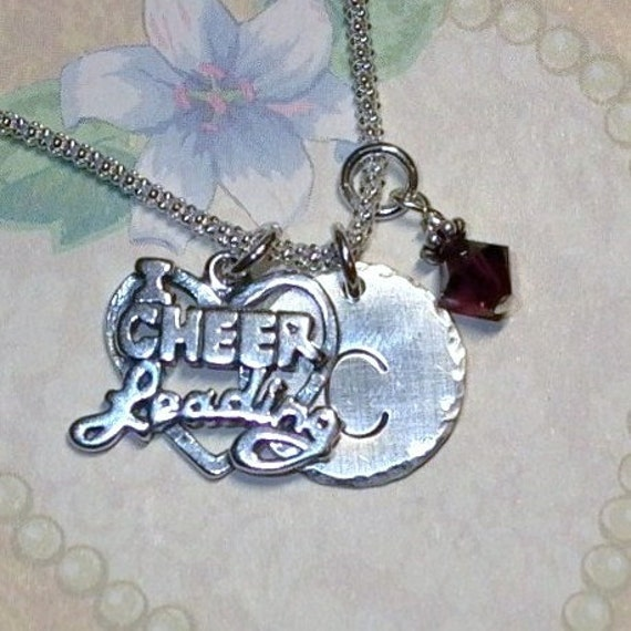 Cheerleading Necklace - I Love Cheerleading Hand Stamped Sterling Silver Initial Charm Necklace - Personalized Cheerleader Charm Necklace