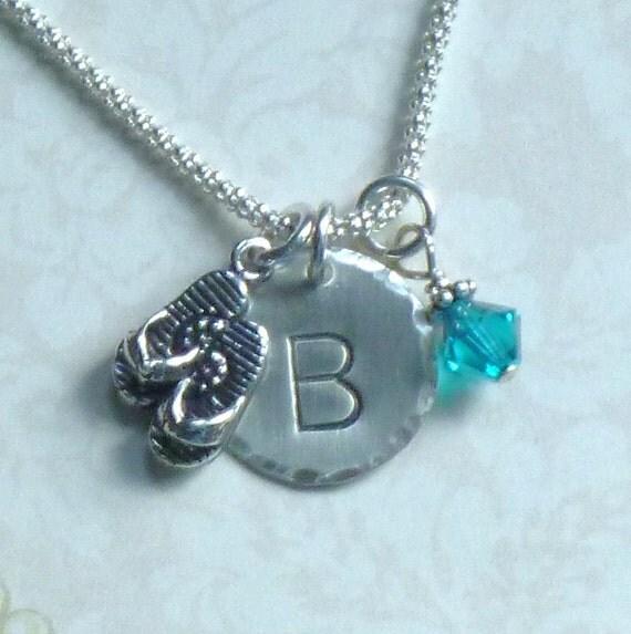 flip flop necklace flip flop jewelry personalized flip flop. Black Bedroom Furniture Sets. Home Design Ideas