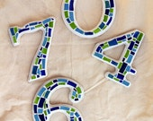 Mosaic House Numbers, 3 Numbers, Custom Colors