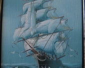 SALE Vintage hand painted Ship at sea