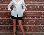 White women linen tunic, women travel shirt, womens clothing, hip length tunic, large long sleeve shirt