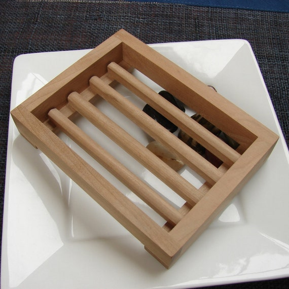 Upcycled Wooden Soap Dish - Cherry Wood, Handcrafted Draining Dishes Slotted Unfinished Go Green