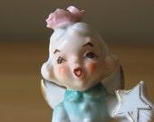 Vintage Girl Angel in Aqua Dress Polishing Star Porcelain Figurine - Made in Japan - Stock Number S693A/F