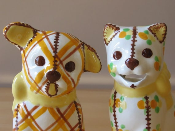 Vintage Brayton Laguna Pottery Gingham Dog & Calico Cat Sugar and Creamer / Figurines