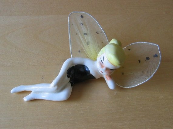 Vintage Tinkerbell Ceramic Figurine with Net Fairy Wings - Made in Japan