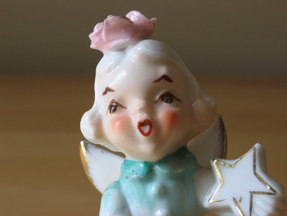 Vintage Girl Angel in Aqua Dress Polishing Star Porcelain Figurine - Made in Japan - Stock Number S693A/F