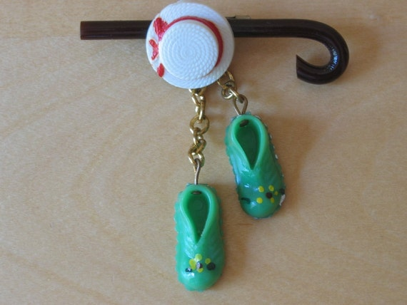 Vintage Plastic Entertainer Costume Pin:  Top Hat, Cane & Soft Shoes