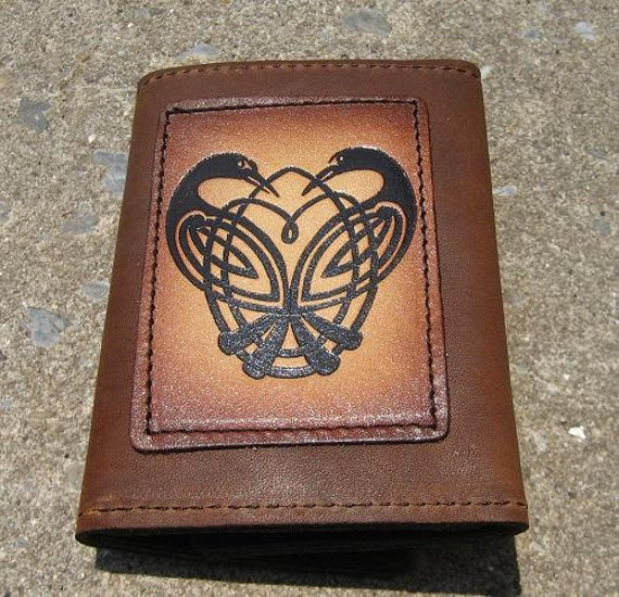 Tri-fold wallet with Celtic Geese