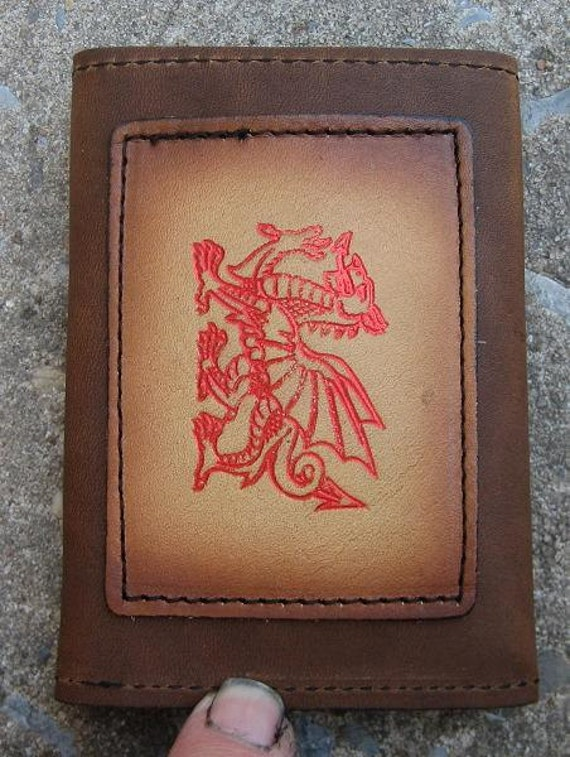 Tri-fold wallet with Welsh Dragon