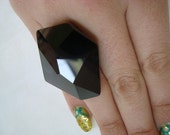 free shipping - Stunning Black Swarovski Crystal Cocktail Ring fierce vintage style hostess huge costume kitsch camp jet black onyx party