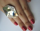 GIANT Futuristic Clear Swarovski Ring