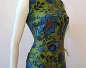 60s Dress Vintage Floral Mod Mid-Century Maxi M