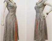 40s Day Dress with Apricot Hip Swag Vintage Glamour 50s Rayon