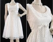 60s Dress Vintage MOD White Lace Wedding Cocktail Party S M