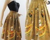 50s Skirt Vintage 50s 60s Border Novelty Print Calypso Caribbean Full Skirt S