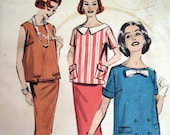 50s 60s Pattern Vintage Maternity Top and Skirt Butterick 8645 B32