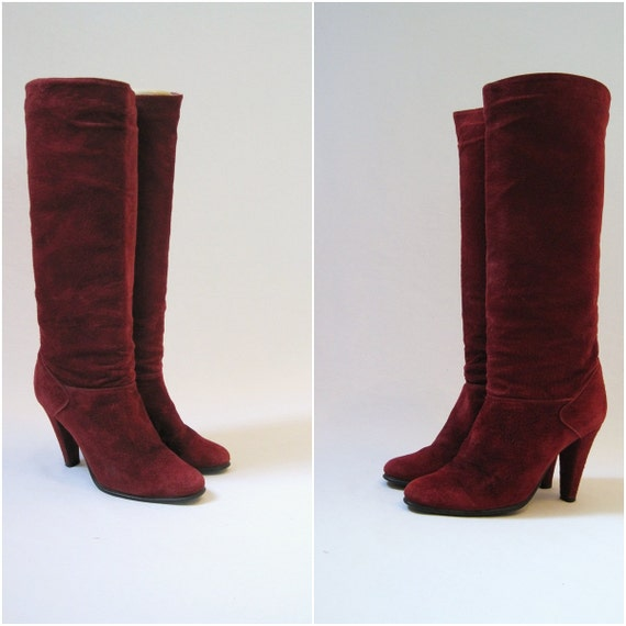 80s boots vintage burgundy suede hippie boho knee high 7