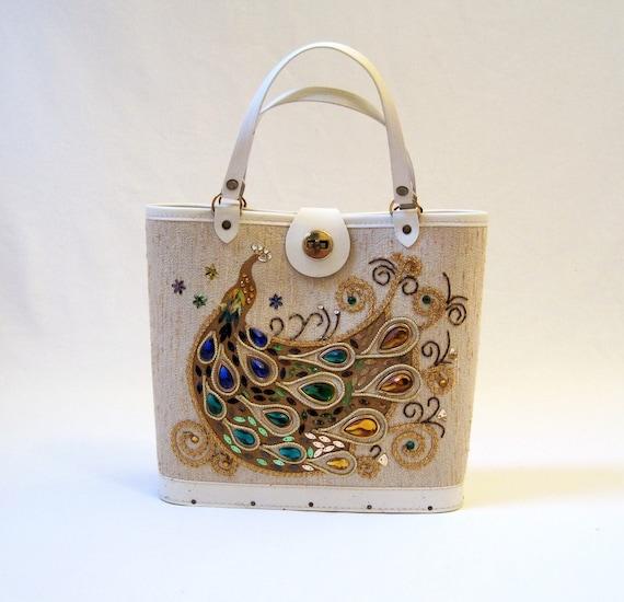 60s Handbag Vintage Jeweled Peacock Purse